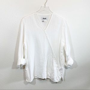 FLAX white linen tunic top